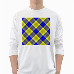 Smart Plaid Blue Yellow White Long Sleeve T Shirts
