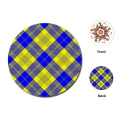 Smart Plaid Blue Yellow Playing Cards (Round)