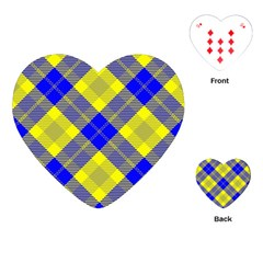 Smart Plaid Blue Yellow Playing Cards (heart)