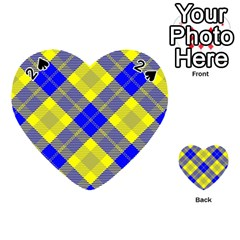 Smart Plaid Blue Yellow Playing Cards 54 (heart)