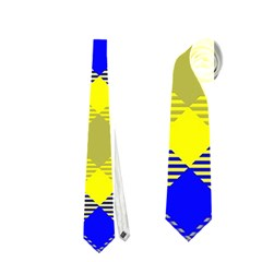 Smart Plaid Blue Yellow Neckties (Two Side)