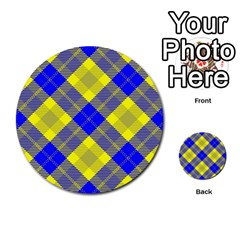 Smart Plaid Blue Yellow Multi-purpose Cards (Round)