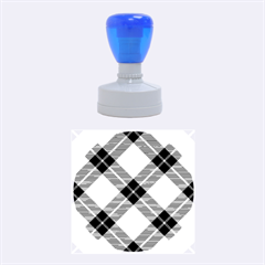 Smart Plaid Blue Yellow Rubber Round Stamps (Medium)