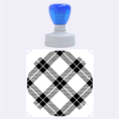 Smart Plaid Blue Yellow Rubber Round Stamps (large)
