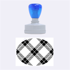 Smart Plaid Blue Yellow Rubber Oval Stamps