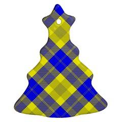 Smart Plaid Blue Yellow Ornament (Christmas Tree)