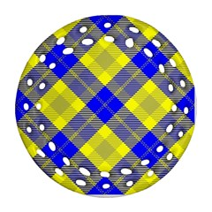 Smart Plaid Blue Yellow Round Filigree Ornament (2side)