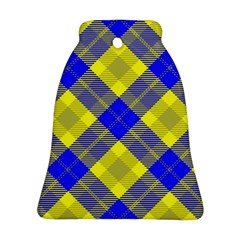 Smart Plaid Blue Yellow Bell Ornament (2 Sides)