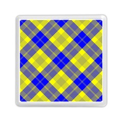 Smart Plaid Blue Yellow Memory Card Reader (Square)