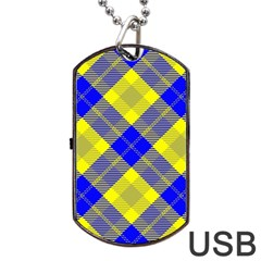 Smart Plaid Blue Yellow Dog Tag USB Flash (One Side)