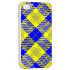 Smart Plaid Blue Yellow Apple Iphone 4/4s Seamless Case (white)
