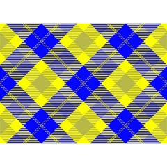 Smart Plaid Blue Yellow Birthday Cake 3D Greeting Card (7x5)