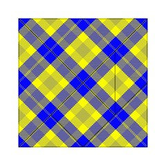 Smart Plaid Blue Yellow Acrylic Tangram Puzzle (6  x 6 )
