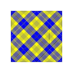 Smart Plaid Blue Yellow Acrylic Tangram Puzzle (4  x 4 )