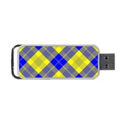 Smart Plaid Blue Yellow Portable Usb Flash (two Sides)