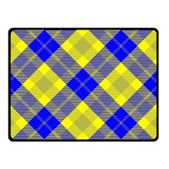 Smart Plaid Blue Yellow Double Sided Fleece Blanket (Small)