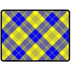 Smart Plaid Blue Yellow Double Sided Fleece Blanket (large)
