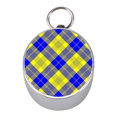 Smart Plaid Blue Yellow Mini Silver Compasses