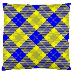 Smart Plaid Blue Yellow Large Flano Cushion Cases (one Side)