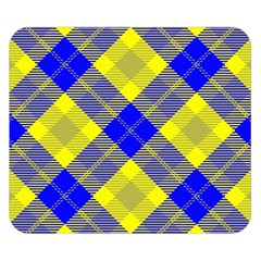 Smart Plaid Blue Yellow Double Sided Flano Blanket (Small)