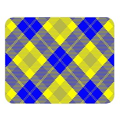 Smart Plaid Blue Yellow Double Sided Flano Blanket (large)