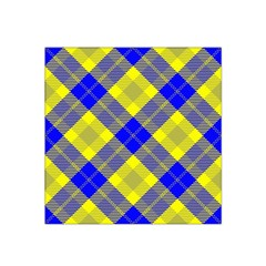 Smart Plaid Blue Yellow Satin Bandana Scarf