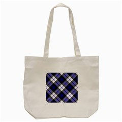 Smart Plaid Blue Tote Bag (Cream)