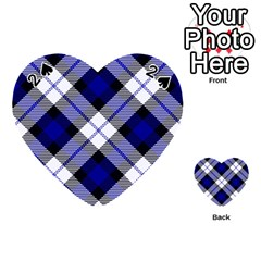 Smart Plaid Blue Playing Cards 54 (Heart)