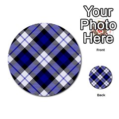 Smart Plaid Blue Multi-purpose Cards (Round)