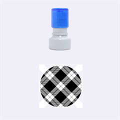 Smart Plaid Blue Rubber Round Stamps (Small)