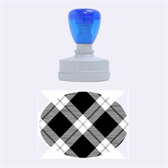 Smart Plaid Blue Rubber Oval Stamps