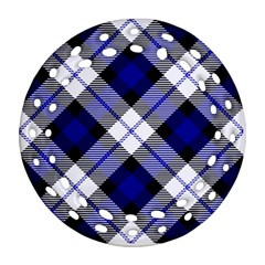 Smart Plaid Blue Ornament (round Filigree)