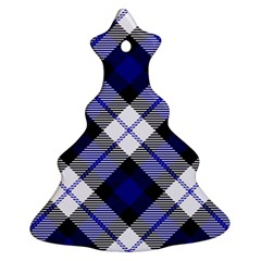 Smart Plaid Blue Christmas Tree Ornament (2 Sides)