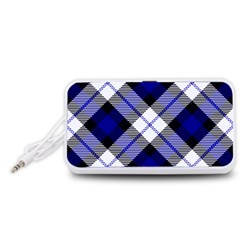 Smart Plaid Blue Portable Speaker (White)