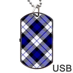 Smart Plaid Blue Dog Tag USB Flash (One Side)