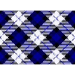 Smart Plaid Blue Birthday Cake 3d Greeting Card (7x5)