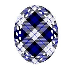 Smart Plaid Blue Oval Filigree Ornament (2-Side)