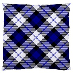 Smart Plaid Blue Large Flano Cushion Cases (Two Sides)