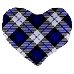 Smart Plaid Blue Large 19  Premium Flano Heart Shape Cushions