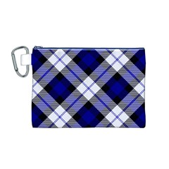 Smart Plaid Blue Canvas Cosmetic Bag (m)