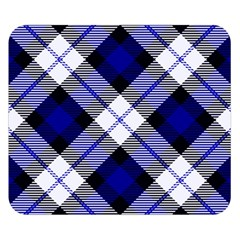 Smart Plaid Blue Double Sided Flano Blanket (Small)