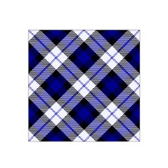 Smart Plaid Blue Satin Bandana Scarf