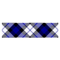 Smart Plaid Blue Satin Scarf (oblong)