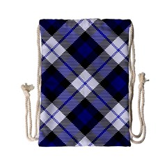 Smart Plaid Blue Drawstring Bag (small)