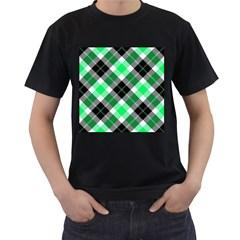 Smart Plaid Green Men s T Shirt (black) (two Sided)