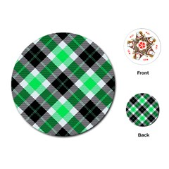 Smart Plaid Green Playing Cards (round)