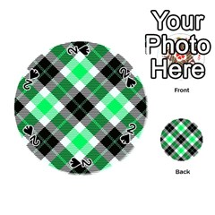 Smart Plaid Green Playing Cards 54 (Round)
