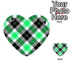 Smart Plaid Green Playing Cards 54 (heart)