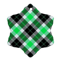 Smart Plaid Green Snowflake Ornament (2-Side)