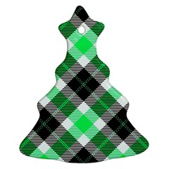 Smart Plaid Green Christmas Tree Ornament (2 Sides)